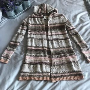 American Rag open knit cardigan with hood